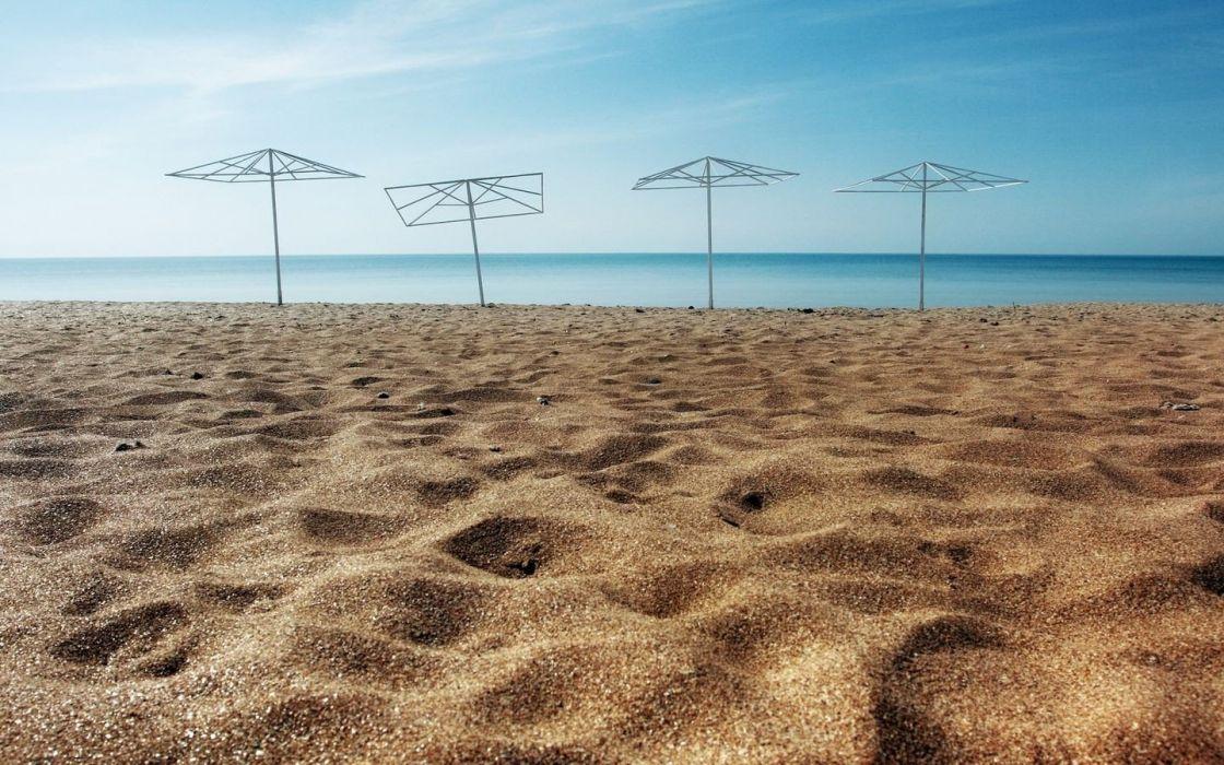 nature umbrellas beaches wallpaper