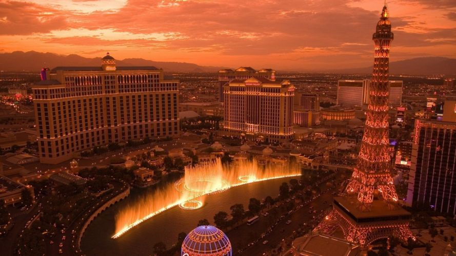cityscapes Las Vegas bellagio Casino Paris Las Vegas Caesars Palace The Mirage Casino Las Vegas Strip wallpaper