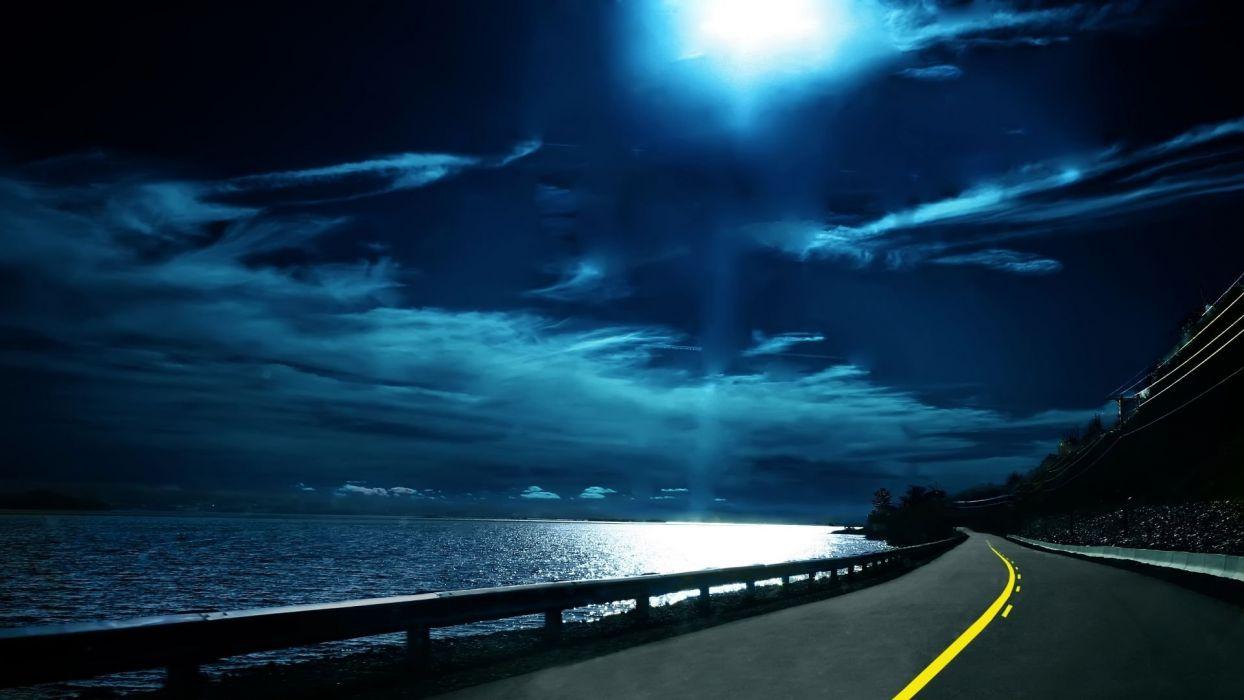 Moon roads nighttime sea wallpaper