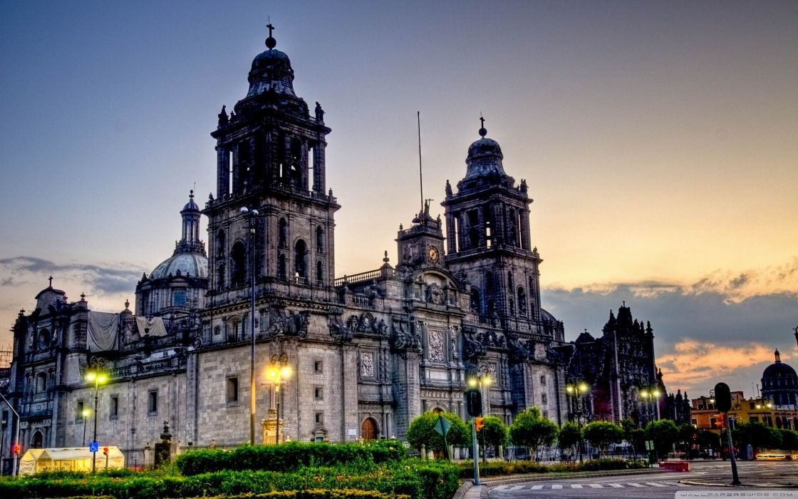 Mexico cathedrals HDR photography wallpaper