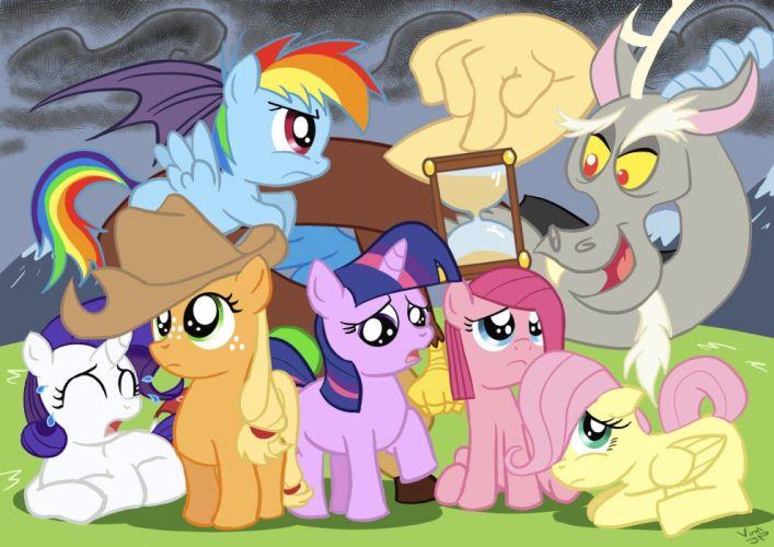 revenge My Little Pony Fluttershy Rainbow Dash Twilight Sparkle Rarity Pinkie Pie Applejack Discord wallpaper
