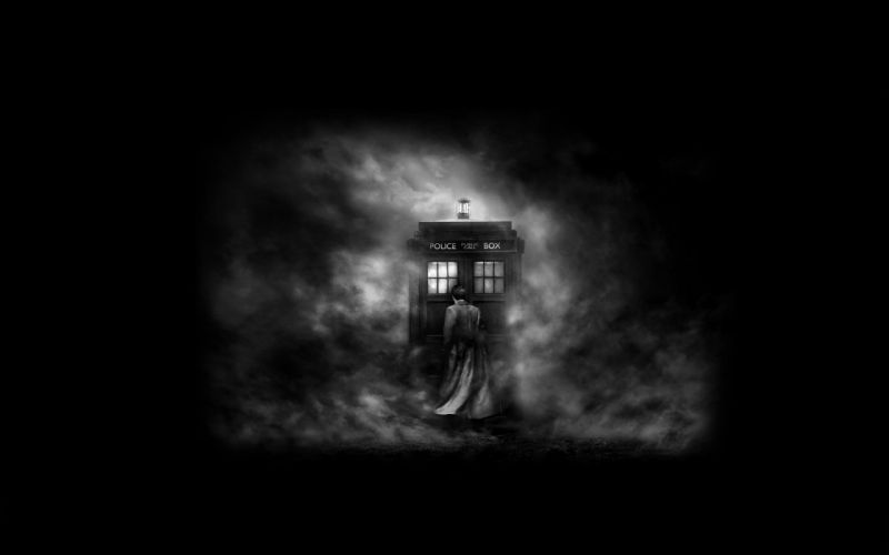 monochrome Doctor Who greyscale wallpaper