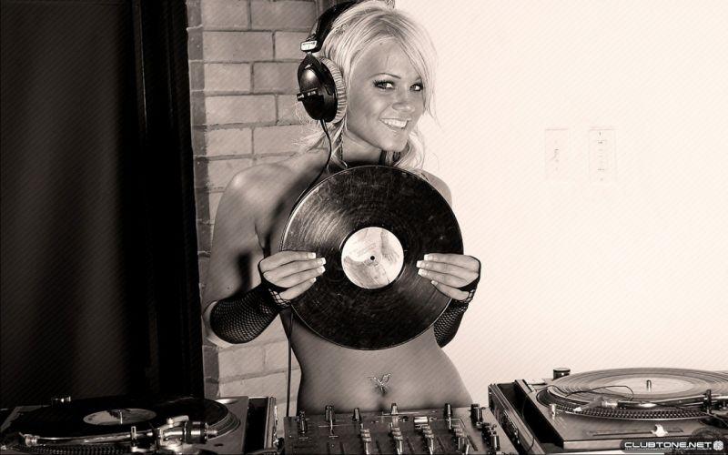 headphones blondes women models DJ navel piercing lp record wallpaper