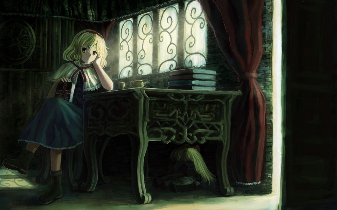 blondes video games Touhou dress indoors room long hair ribbons tables books short hair yellow eyes sunlight chairs sitting curtains dolls window panes Alice Margatroid hair band witches wallpaper