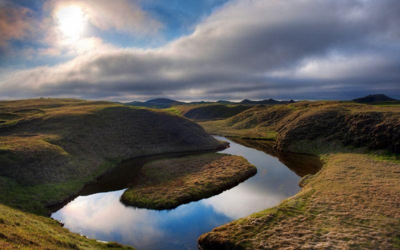 landscapes Iceland rivers wallpaper