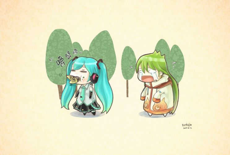 trees Vocaloid Hatsune Miku long hair green hair twintails open mouth signatures crying closed eyes aqua hair eating wallpaper
