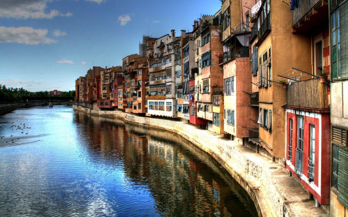 houses rivers girona wallpaper
