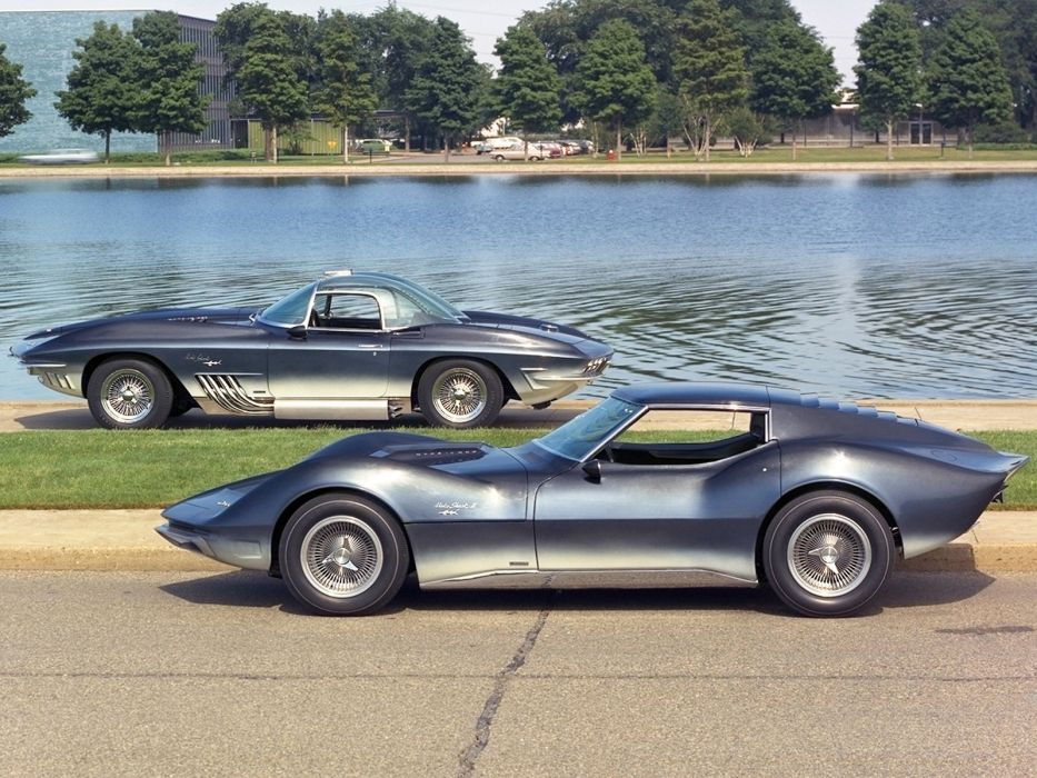 Mako Shark I-I 1965 & XP-755 1961 chevrolet corvette muscle tuning supercar hot rod rods   h wallpaper