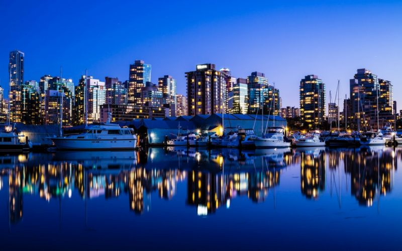 landscapes Canada Vancouver boats city lights city skyline reflections cities harbours wallpaper