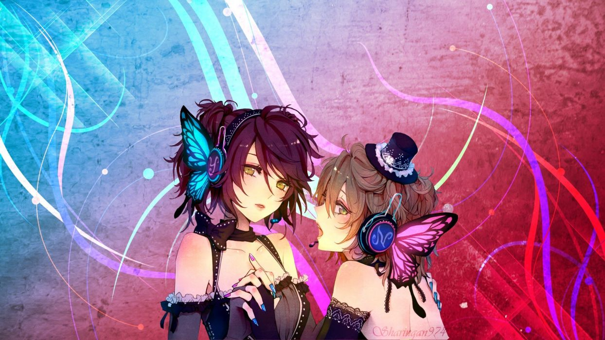 headphones abstract Vocaloid anime girls detached sleeves Magnet (Vocaloid) butterflies wallpaper