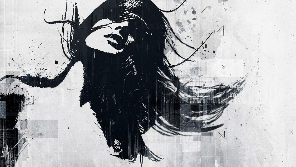 Women Abstract Black Sketches Alex Cherry Wallpaper
