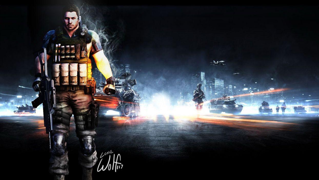 video games Battlefield Resident Evil digital art Battlefield 3 Chris Redfield wallpaper