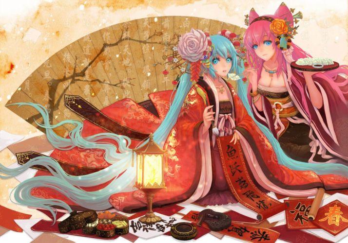 Vocaloid Hatsune Miku Megurine Luka long hair pink hair twintails aqua eyes aqua hair anime girls hair ornaments wallpaper