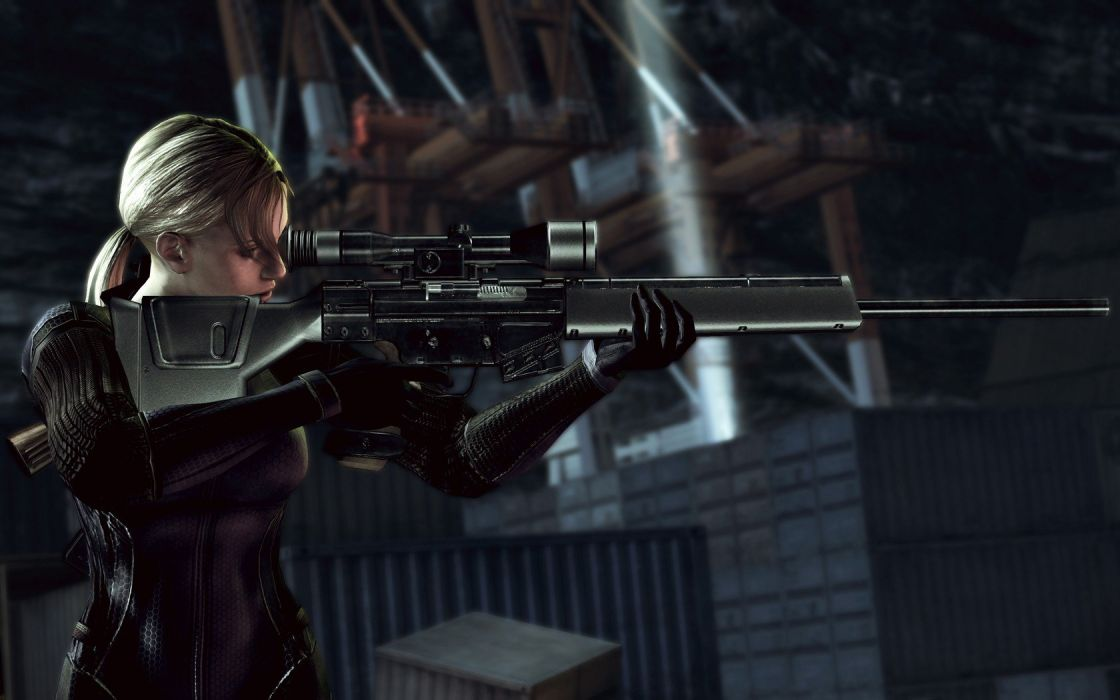 blondes women video games snipers weapons girls with guns Jill Valentine ponytails PSG-1 wallpaper