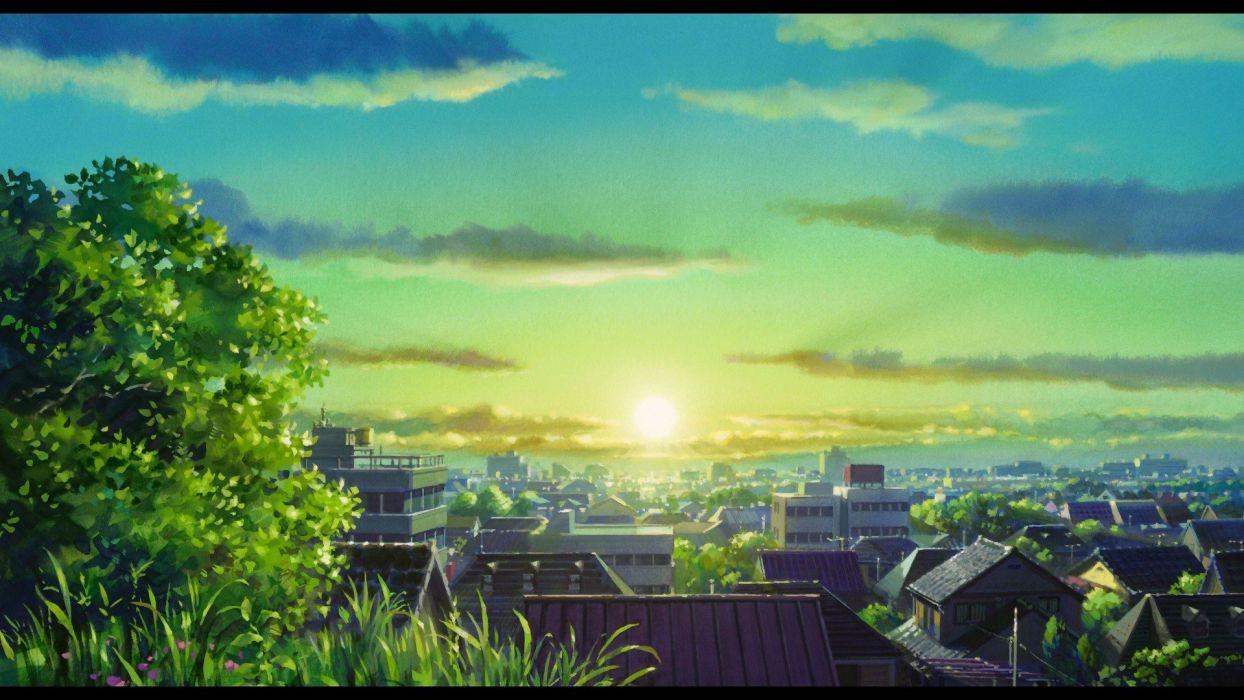 Sun trees cityscapes anime Karigurashi no Arrietty The Secret World of Arrietty wallpaper