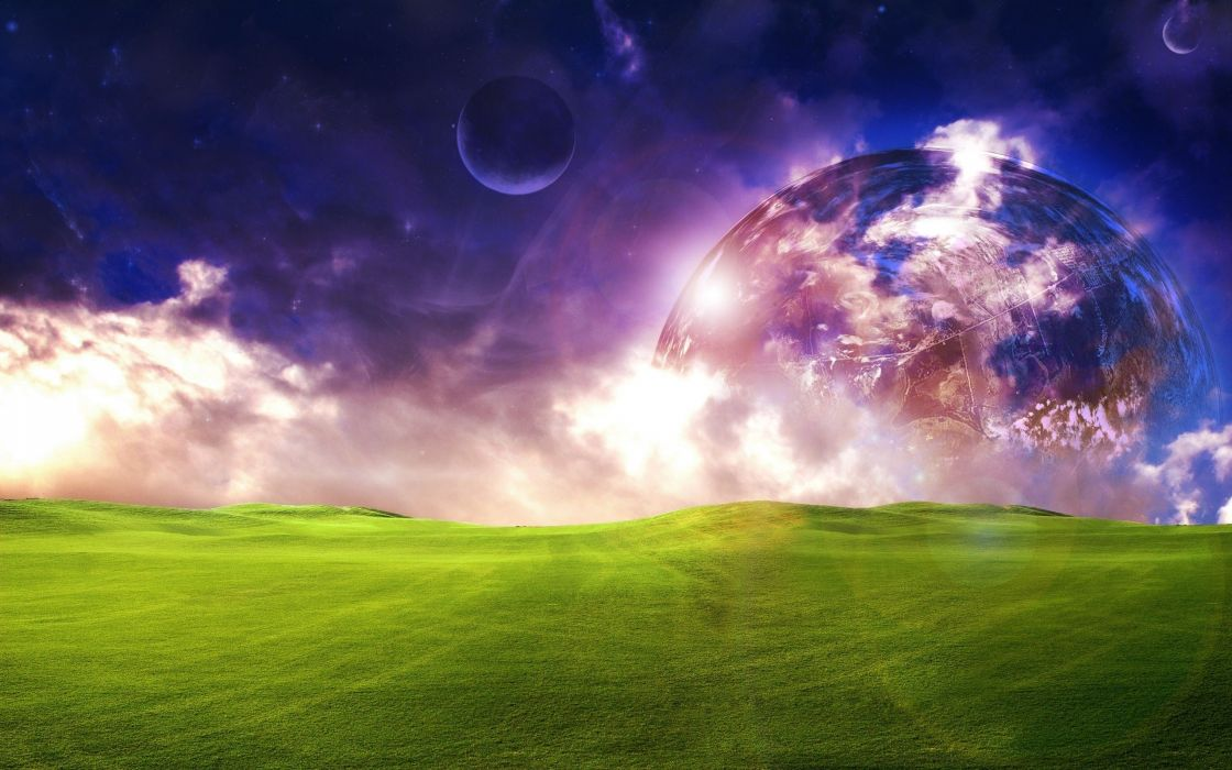 abstract planets grass hills dreamy wallpaper