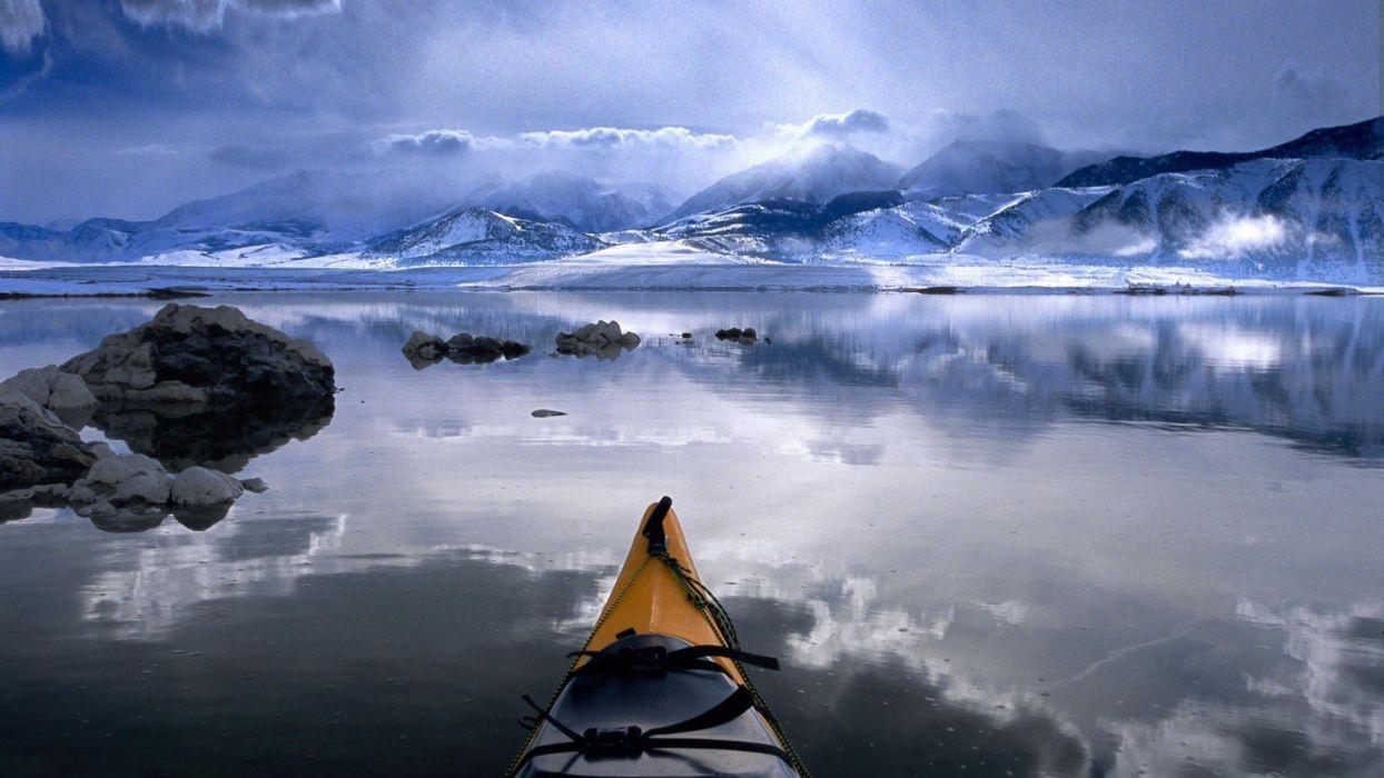 clouds nature winter California lakes kayak Mono Lake wallpaper