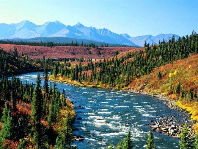 landscapes nature scenic rivers Yukon wallpaper
