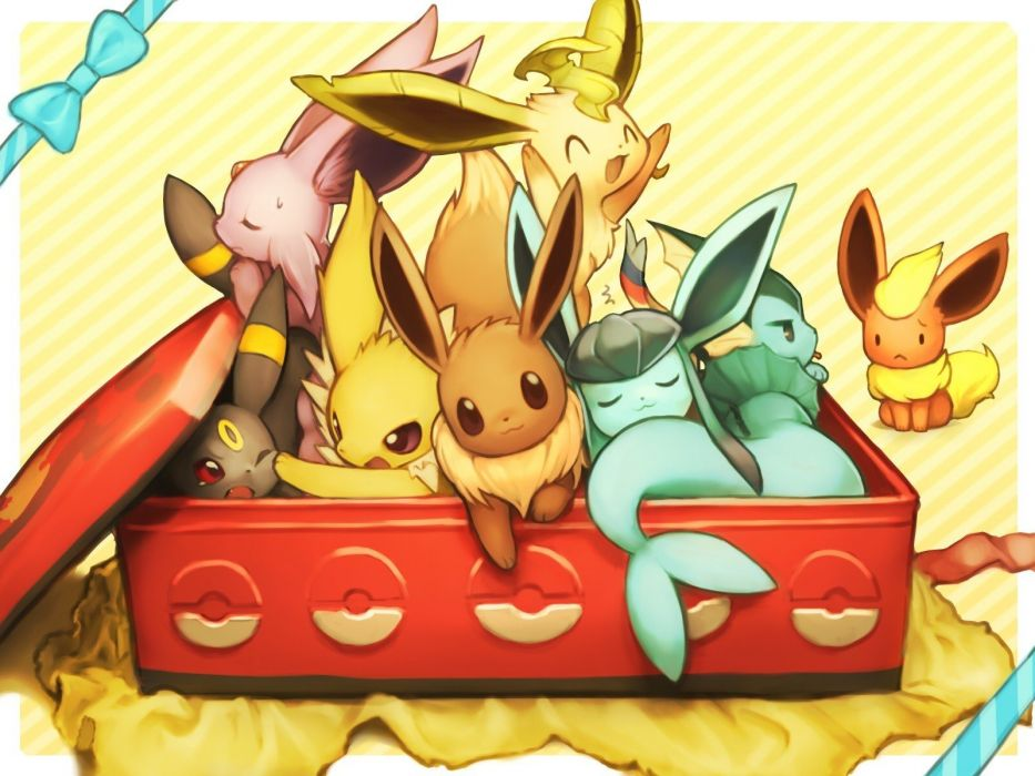 Pokemon Flareon Eevee Espeon Umbreon Vaporeon sleeping anime wink Jolteon Leafeon Glaceon Sylveon wallpaper