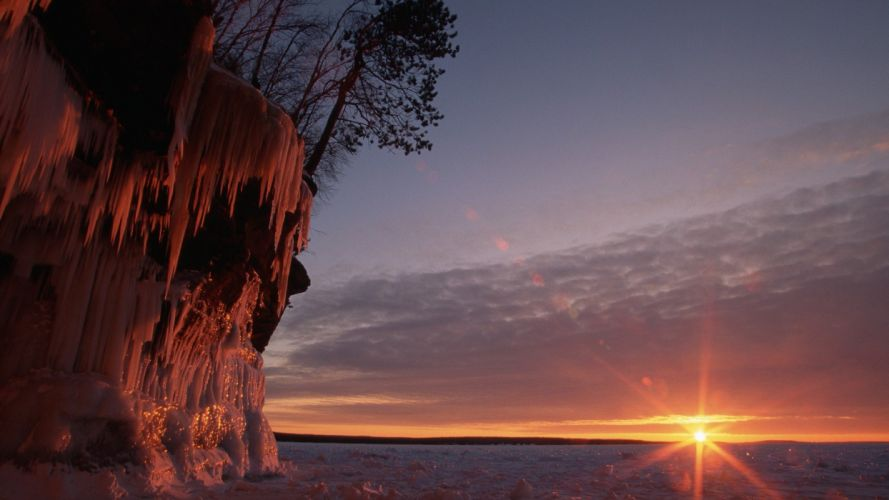Wisconsin ice cave Lake Superior wallpaper