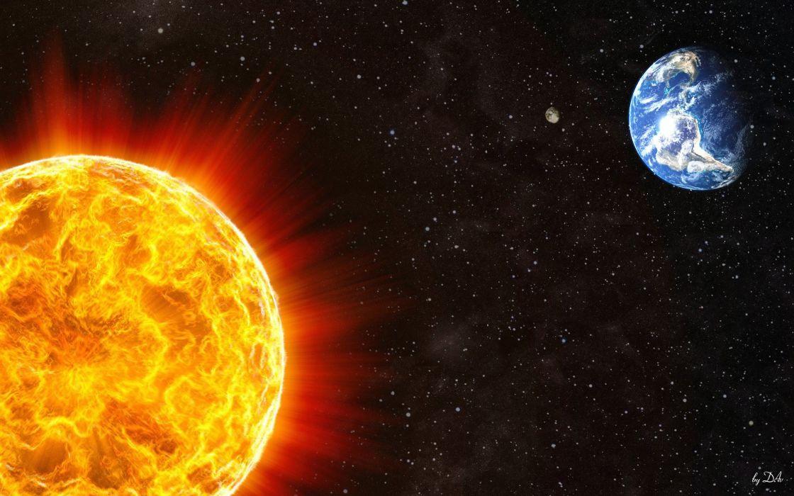 Sun stars planets Earth space wallpaper
