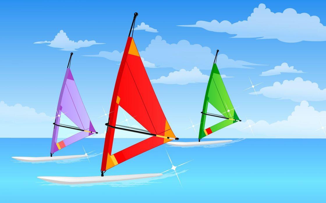 ocean vectors windsurfing wallpaper