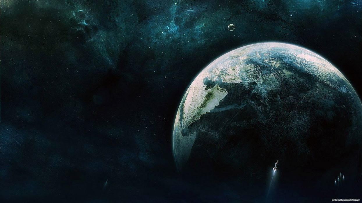 outer space stars planets Earth serene upscaled wallpaper