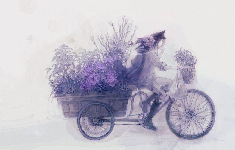 flowers artwork anime boys drawn motorbikes graphics wallpaper