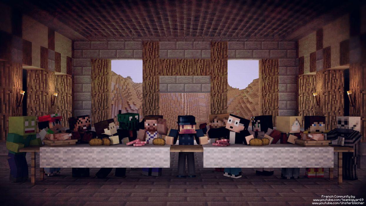 The Last Supper Minecraft wallpaper