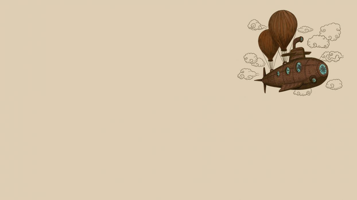 clouds minimalistic steampunk octopuses balloons reversed reality u-boat wallpaper