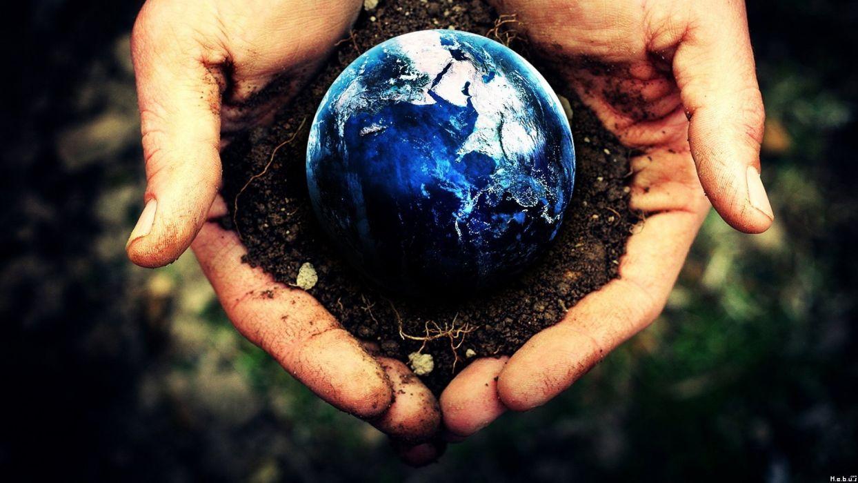 hands Earth depth of field photo manipulation Terra wallpaper