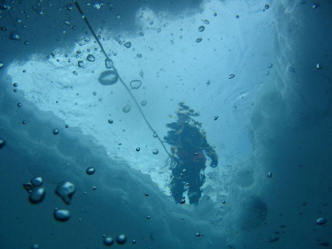 water ice blue underwater ropes wallpaper