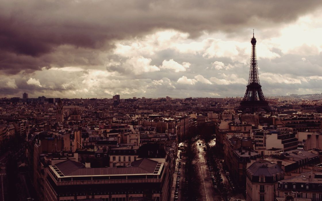 Eiffel Tower Paris clouds cityscapes cars France buildings vehicles skyscapes wallpaper