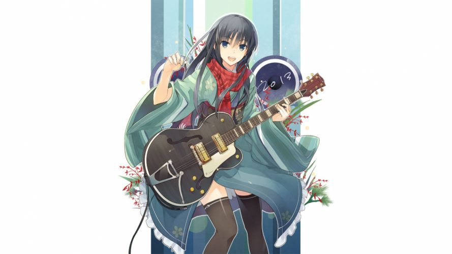 long hair belts speakers plants black eyes thigh highs guitars open mouth electric guitars scarfs yukata Japanese clothes simple background anime girls white background black hair original characters wide sleeves guitar picks wallpaper