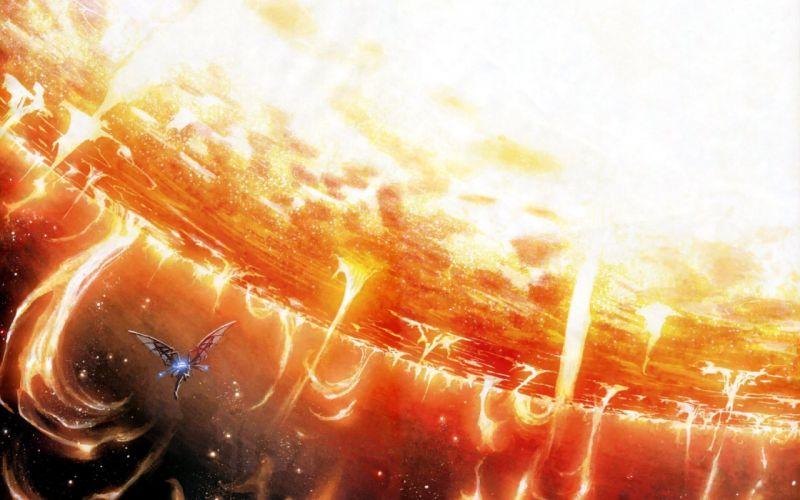 Sun outer space digital art wallpaper