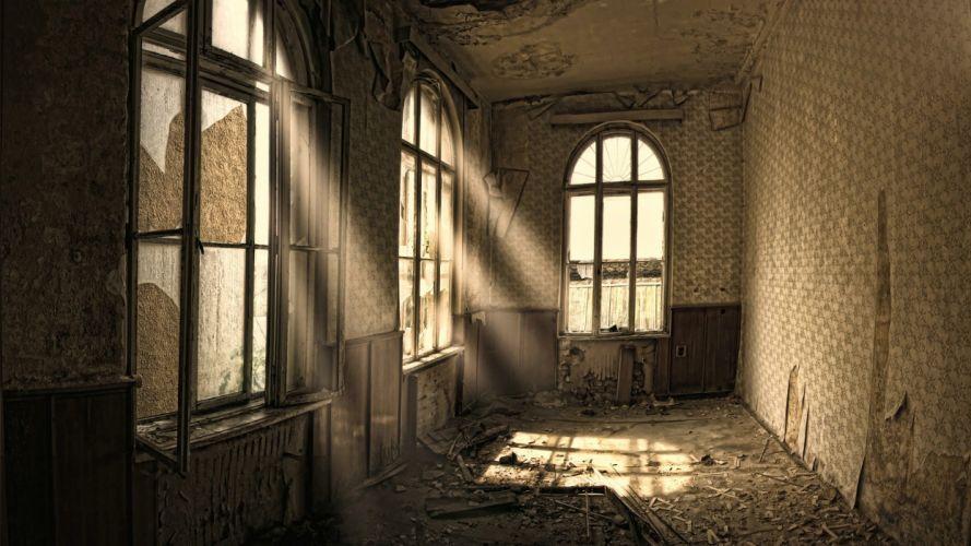 room sunlight abandoned windows wallpaper