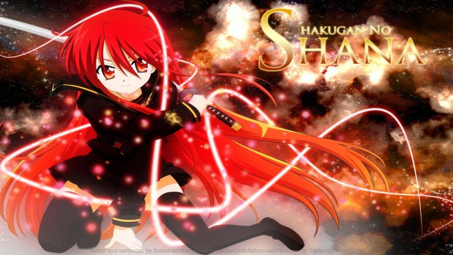 outer space Shakugan no Shana red fire weapons Shana red eyes anime manga Flame Haze anime girls swords black clothes wallpaper