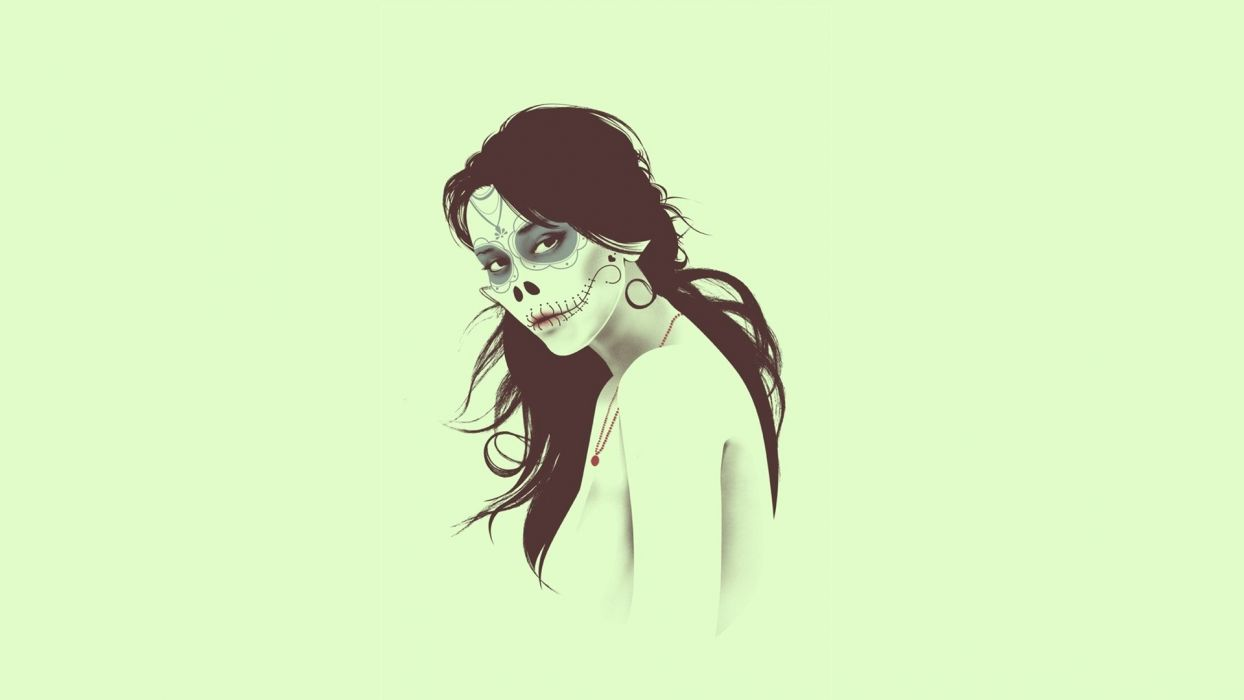 women skulls minimalistic zombies vectors illustrations digital art sugar skulls portraits wallpaper
