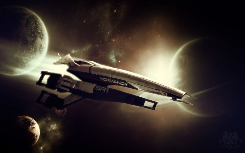 outer space Normandy stars planets rings spaceships science fiction vehicles wallpaper