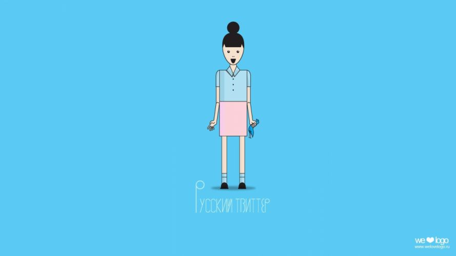 women blue minimalistic white design Russia Twitter wallpaper