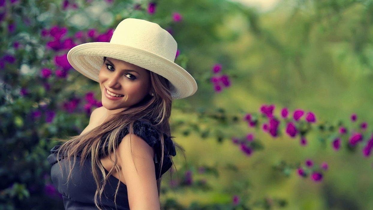 brunettes women nature flowers models smiling hats wallpaper