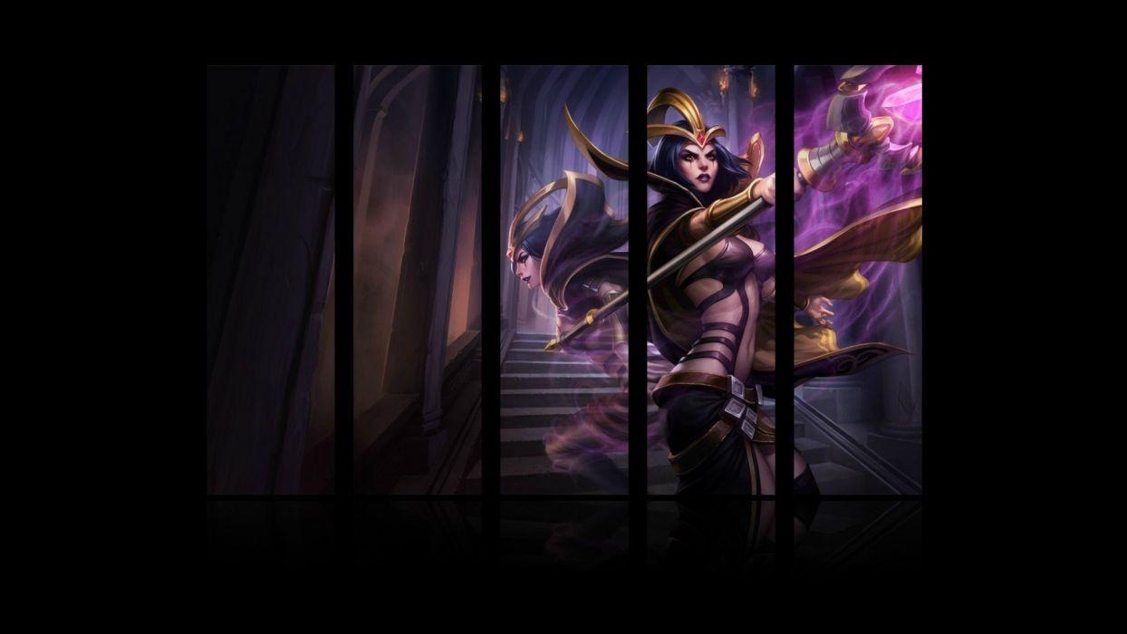women video games League of Legends magic sorcerer panels staff LeBlanc game wallpaper