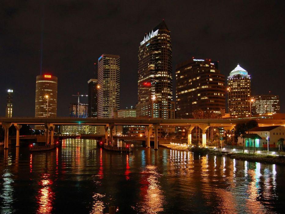 cityscapes night bridges buildings Florida city lights rivers reflections wallpaper