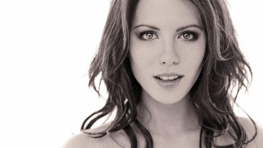 brunettes women black and white actress Kate Beckinsale wallpaper