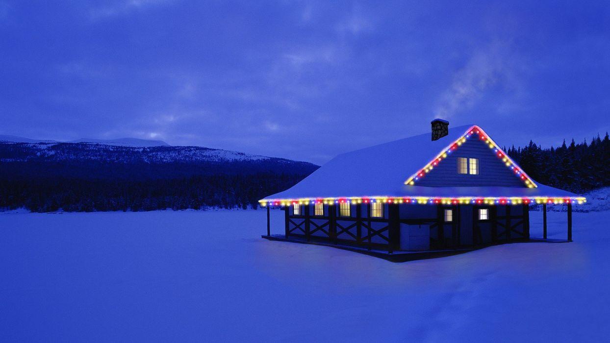 Canada Christmas Alberta cottage wallpaper