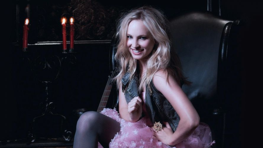 blondes women stockings skirts smiling Candice Accola wallpaper