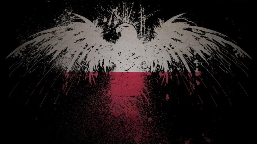eagles flags Polish Poland artwork White Eagle wallpaper