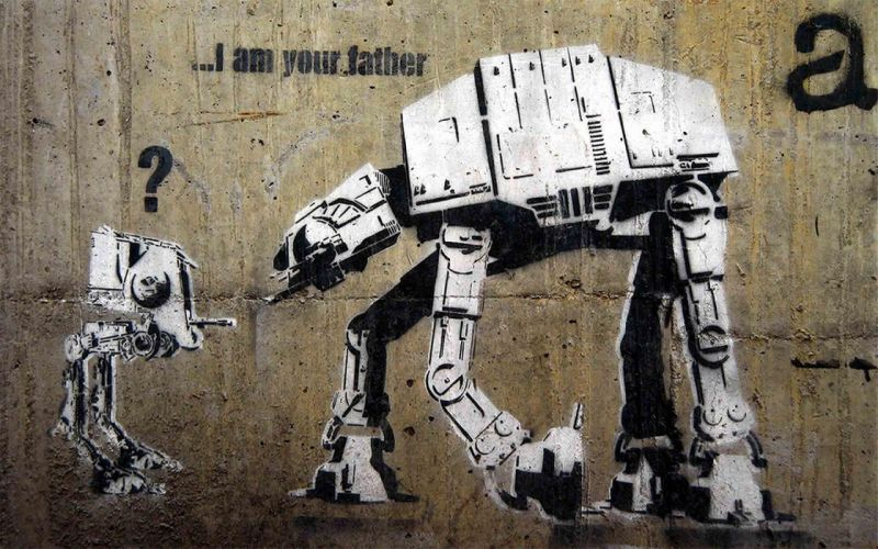 Star Wars Banksy AT-AT wallpaper