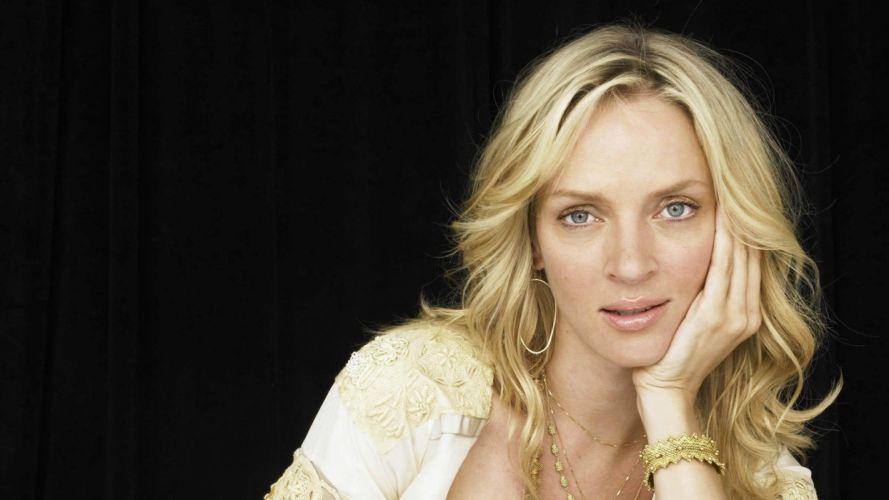 blondes women blue eyes Uma Thurman celebrity wallpaper