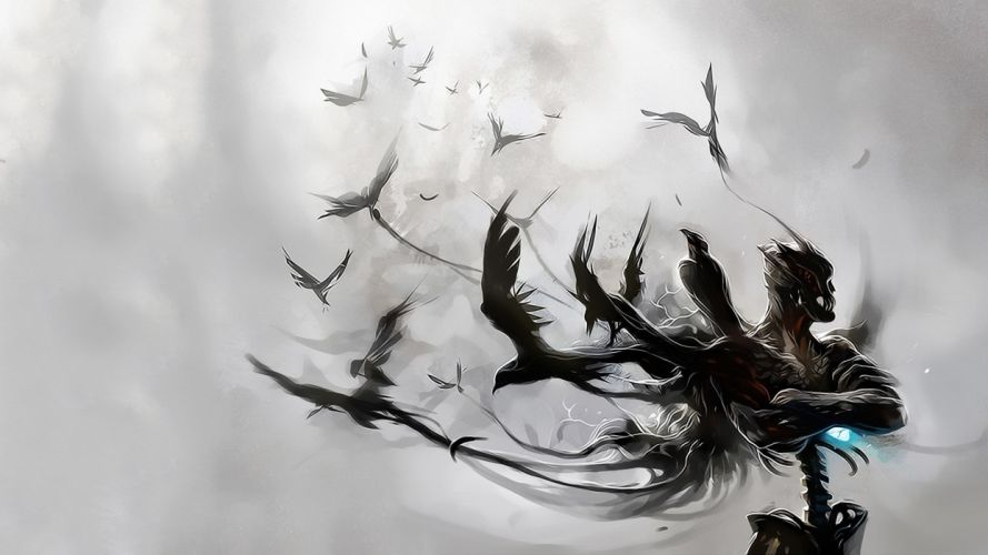 abstract birds white background Raven wallpaper